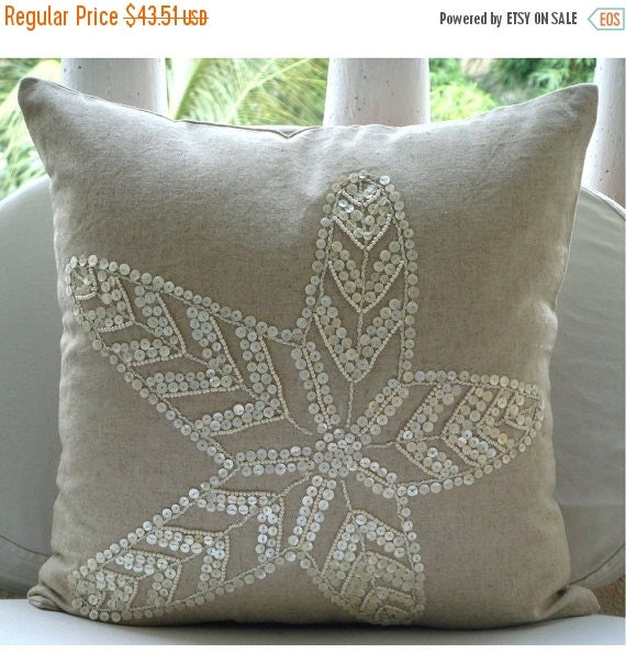 15% HOLIDAY SALE Starfish Pearls  - Euro Sham Covers - 26x26 Inches Linen Euro Sham Cover with Pearl Embroidery