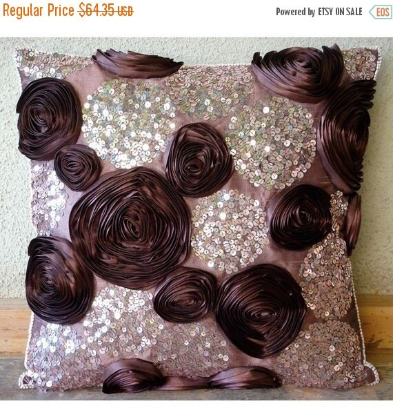 15% HOLIDAY SALE Wine And Roses - Euro Sham Covers - 26x26 Inch Silk Pillow Cover with Ribbon and Sequin Embroidery