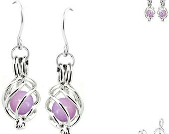 MERZIEs silver U PICK earwires cage sp TWIST rare Phosphosiderite beads earrings - SHIPs from USA - Combined Shipping