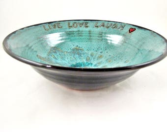 Live Love Laugh wedding bowl, Pottery blessing bowl wedding gift, in teal blue and black - In stock 112 WB