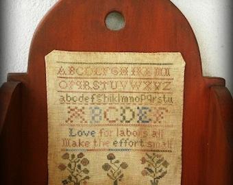 Primitive Cross Stitch Pattern - Love for Labors All