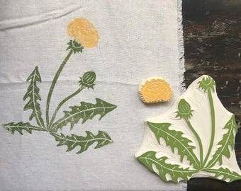 Dandelion Rubber Stamp Set Hand Carved