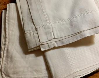 3 White Handkerchiefs, Mens all cotton, plain, textured weaves, vintage destash lot