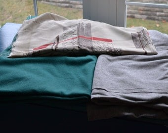 4 Pieces ofVintage Fabric, 60s wools, and rayon, green feels like cashmere,