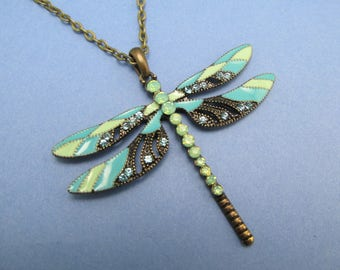 Dragonfly necklace Art Nouveau Vintage necklace Gorgeous Ethereal enameled bronze