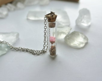 Tiny Terrarium with Pink Flower