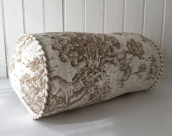 Brown Toile Throw Pillow Bolster 6 x 12