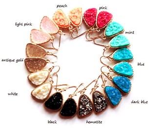 SALE * Druzy color earrings - rich color - pick your color