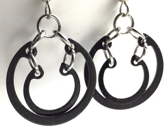 Black Dangle Earrings Hardware Jewelry Industrial Hoops Eco Friendly