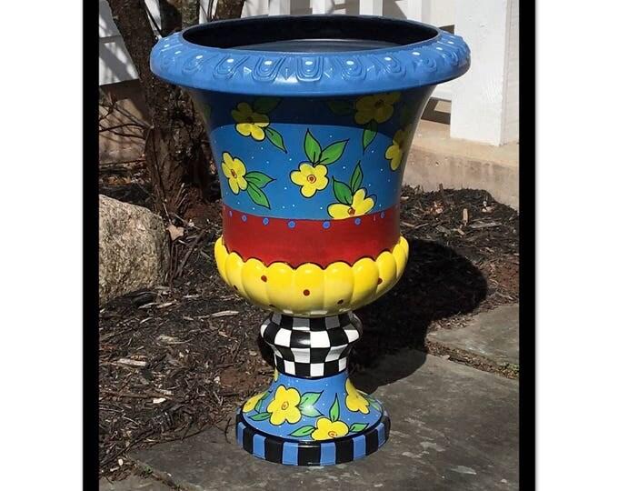 Painted urn planter // whimsical painted planter urn // harlequin urn