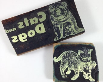 Vintage Print Blocks, Cats and Dogs, Metal Plate on Wood Block