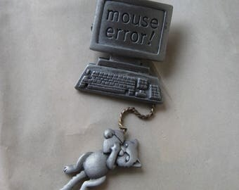Mouse Error Computer Brooch Silver Gold JJ Pin Vintage Pendant Dangle