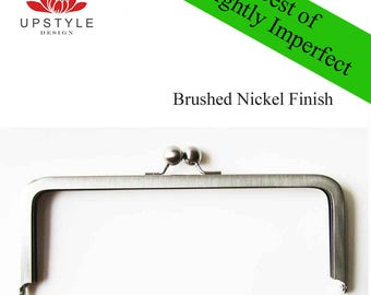 "SAVE 50%  Set of 5 Frames 8"" x 3"" Brushed Nickel - BEST of Slightly Imperfect Clutch Purse Frames - Ships from USA"
