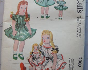 Vintage 1955 McCall's pattern to make big and little cloth dolls Still factory folded