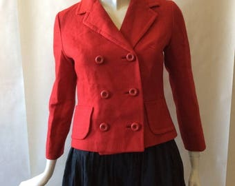 MOVING 4 GRADSCHOOL SALE Early 1960's double breasted cranberry red jacket, with round buttons, notched collar, and long sleeves, medium / s