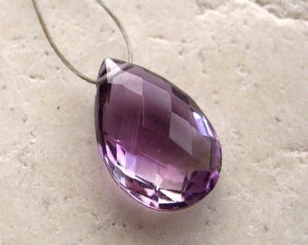 Purple Amethyst Faceted Teardrop 15 x 9.75 mm - Gemstone Focal Pendant