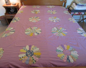 Vintage hand made Dresden Sunflower cotton quilt top with finished edges