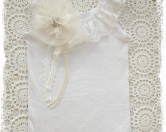 Baby, Toddler, Girl white or ivory flower girl top special occasions top
