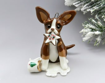 Chihuahua Chocolate Tricolor Christmas Ornament Figurine Santa's Cookie Porcelain