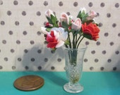 OOAK 1:12 scale dollhouse miniature decorative dry flower arrangement with marble filled vase - dollhouse floral decor - rose filled vase