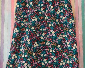 Happy Summer Floral - Vintage Preppy Skirt Blue