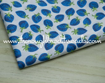 """Blue Strawberries- Vintage Fabric Novelty Fruit Berry 36"""" wide Food Kitchen Aprons"""