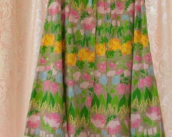 Vintage Garden Skirt - 60s 70s Mod Floral Flowers Pleated Tulips Roses Lily