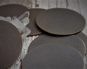 Lot Quality 1 Inch Vintage Brass Raw 25mm Flat Blank Round Disc Stampings 22 g Guage Circle Jewelry Findings Hand Oxidized Brown Patina 13B