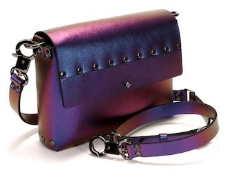 Cobalt Iridescent Crossbody Bag | Cobalt to Purple Iridescent Handbag | Vegan | Made in USA
