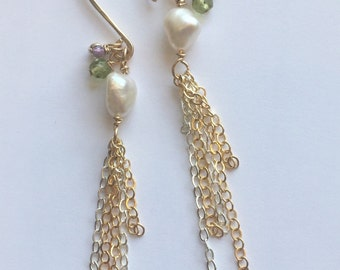 Long delicate fringe gold filled and sterling mixed earrings with freshwater pearl, peridot, and amethyst