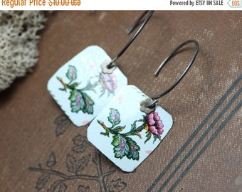 Sale Cut Tin Earrings White Pink Flowers Upcycled Metal Earrings Recycled Repurposed