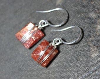 Sunstone Earrings Silver Wire Wrapped Gemstone Earrings Sterling Silver