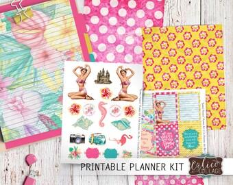 Printable, Planner Kit, Planner Stickers, Digital Download, DIY Planner, Customize Planner, Summer Time, Beach, Pinups, Happy Planner