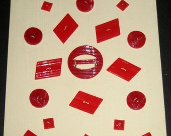 20 Vintage Red Buttons and a Buckle