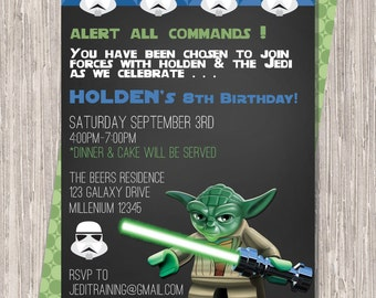 Star Wars Birthday Invitation - boy birthday  - Yoda - storm trooper -  printable 5x7 JPG PDF