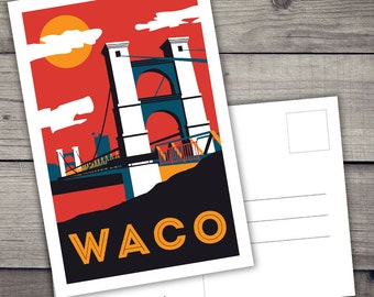 Waco, Texas Postcard - 4x6 - 2 sided - ready for print digital file only