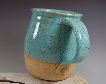 Large Pottery Mug , Perfect For The Beach,Serving, Handmade, White With Natural Clay, Organic