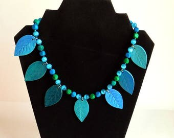 Hand-Crafted Beaded Necklace w/ Ceramic Leaf Dangle Beads - Blues and Greens - 18 Inches - Matte Finish  - Faux Tigers Eye - Summery Fun