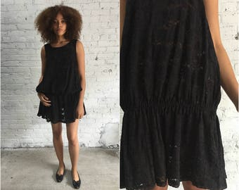 1980s black lace drop waist dress / 80s lace bubble dress / lace ruffle cocoon dress