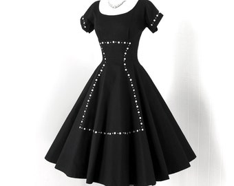 vintage 1950's dress ...quintessential MR. MORT black waffle pique cotton full CIRCLE skirt cocktail party dress with buttons & rhinestones!