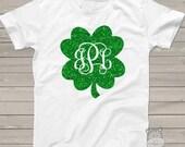 SALE - St. Patricks Day St. Patrick's Day shirt - monogram sparkly glitter shamrock ADULT Tshirt SMGAT