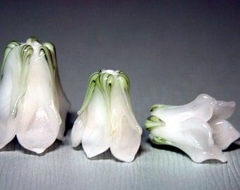 White Bellflower Lampwork Flower Beads Large or Small SRA FHF