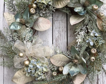 Victorian Christmas Wreath, Christmas Wreath, Elegant Wreath for Door, Green Christmas Wreath