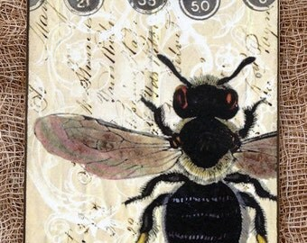 Big French Bee Gift or Scrapbook Tags or Magnet #305