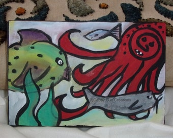 Fish and octopus and little seal adventure fine original small artwork in the ocean and sea