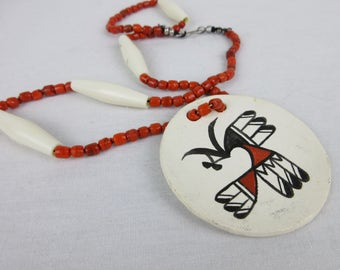 Vintage Studio / Artisan American Indian Pottery Necklace, Hand Painted Pendant