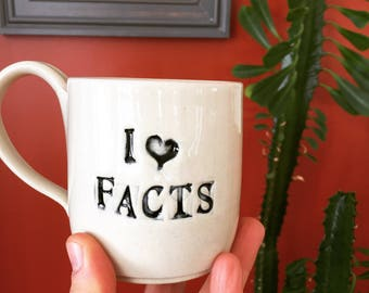 I love facts- resistance mug in white with black lettering