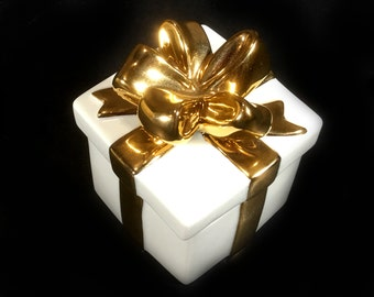 """Vintage Mikasa Lidded Trinket/Gift Box, White with Gold Ribbon and Bow, pattern """"Holiday Elegance"""""""