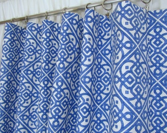 "Bright Blue Lattice Curtains, Porcelain Blue Window Curtains, Geometric Drapes, Ogee Curtains, Blue White, Rod-Pocket, One Pair 50""W"