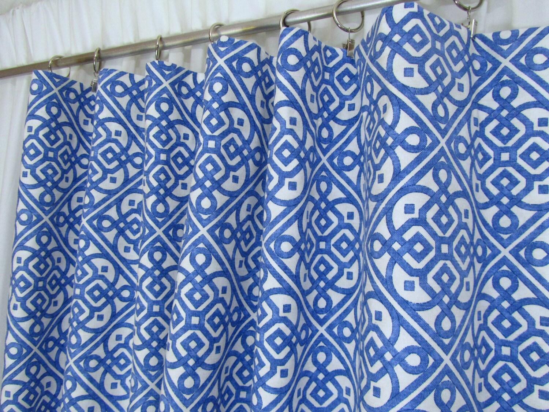 Blue geometric curtains -  Zoom